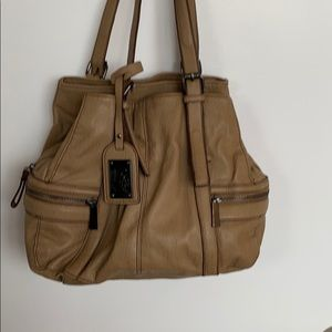 KENNETH COLE REACTION Tan Faux Leather Zip Purse